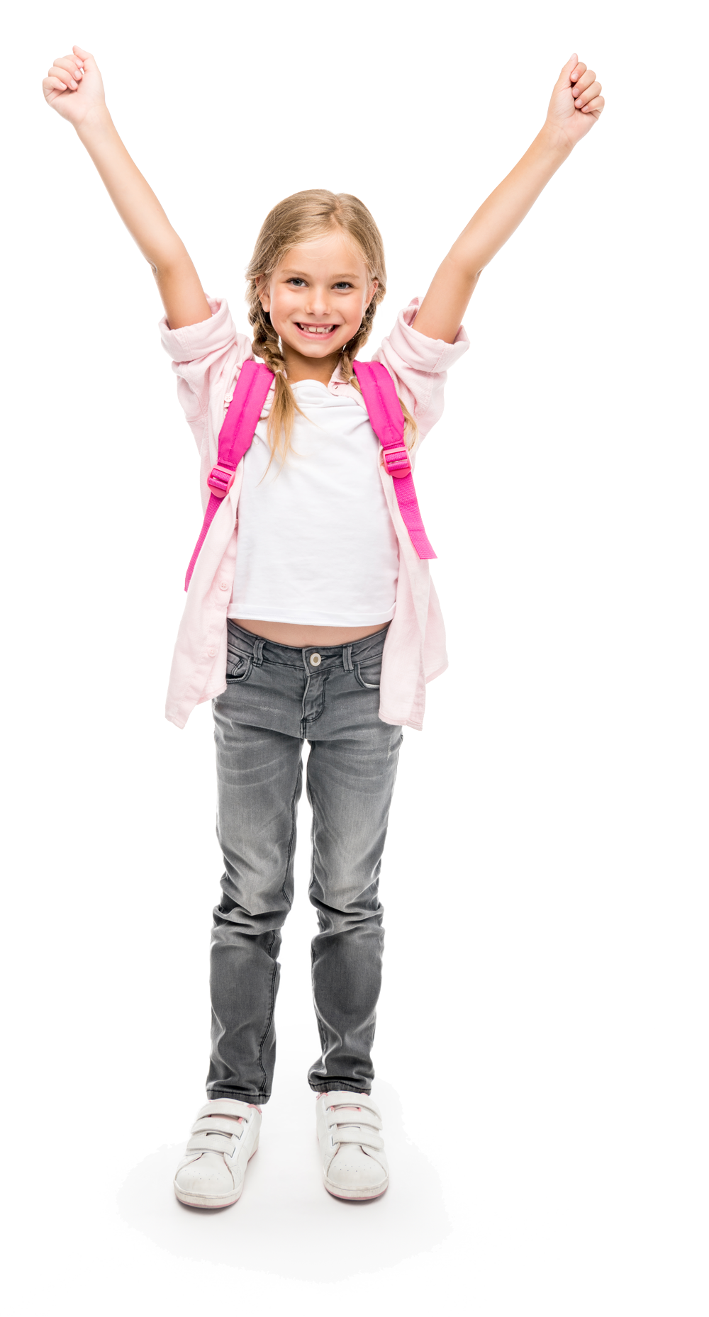 Child with Hands in the Air and Rucksack
